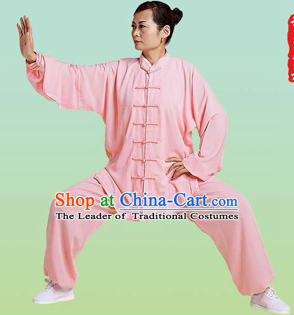 Top Grade Chinese Linen Kung Fu Costume, China Traditional Martial Arts Kung Fu Training Pink Uniform Wushu Clothing for Adult