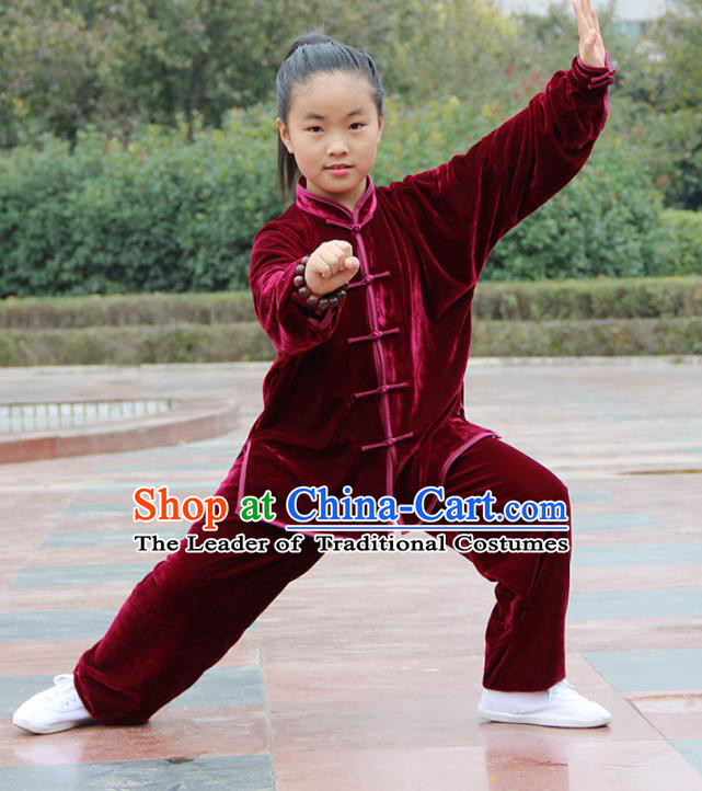 Chinese Kung Fu Wine Red Velvet Costume, Traditional Martial Arts Tai Ji Uniform Clothing for Kids