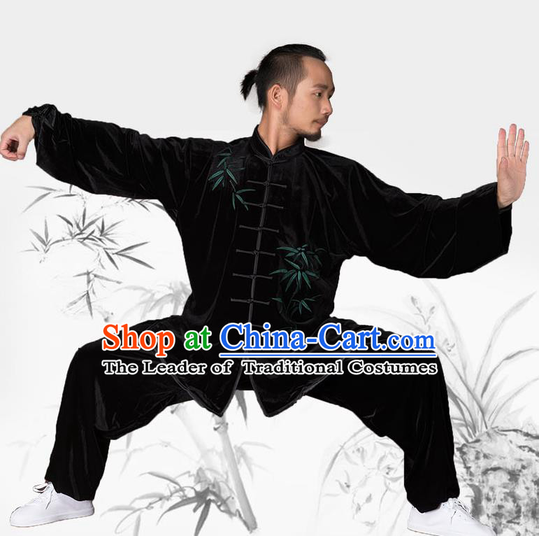 Traditional Chinese Kung Fu Embroidered Bamboo Velvet Costume, China Martial Arts Tai Ji Clothing for Men