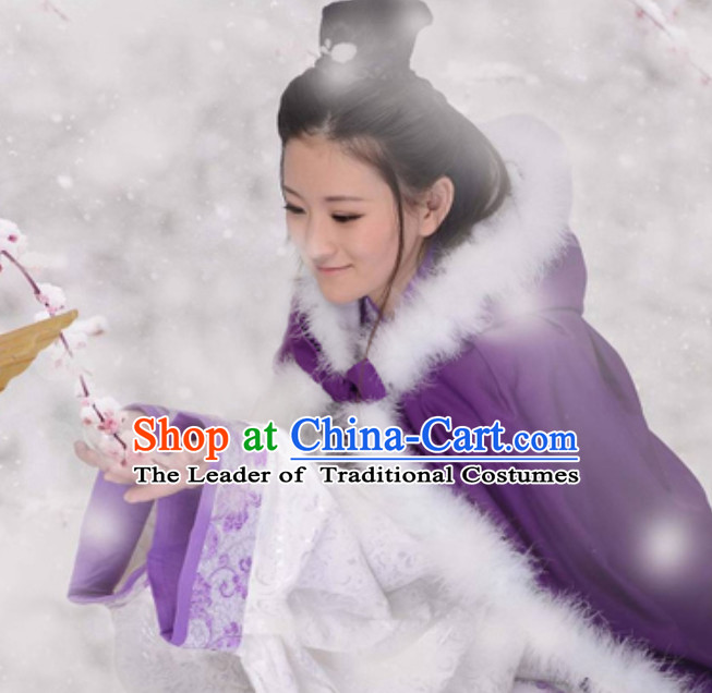 Ancient Chinese Style Mantle Kimono Costume Ancient Embroidered Plum Blossom Purple Clothing Complete Set