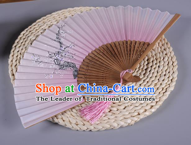 Traditional Chinese Crafts Printing Wintersweet Pink Silk Folding Fan China Oriental Fans for Women