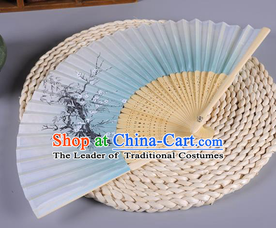 Traditional Chinese Crafts Printing Wintersweet Blue Silk Folding Fan China Oriental Fans for Women
