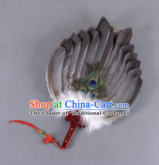 Traditional Chinese Crafts Folding Fan China Peacock Feather Fan Oriental Fan Zhuge Liang Fans
