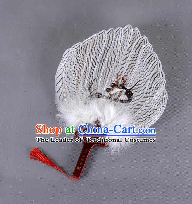 Traditional Chinese Crafts Double Magpie Folding Fan China Eagle Feather Fan Oriental Fan Zhuge Liang Fans