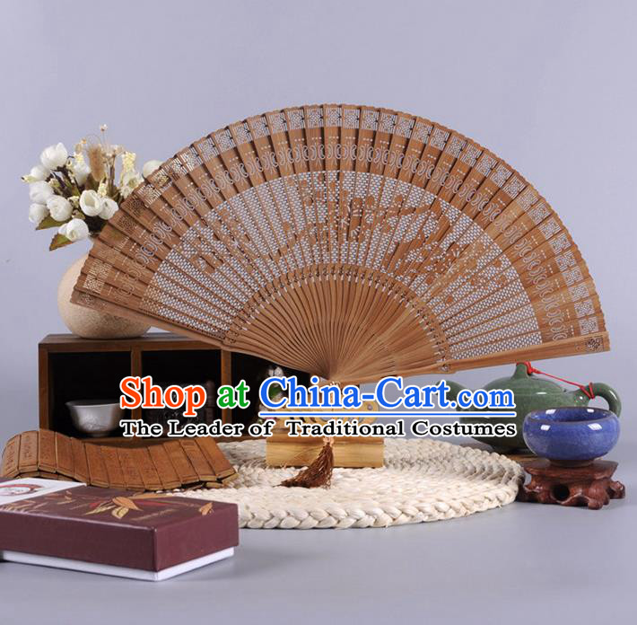Traditional Chinese Crafts Hollow Out Plum Blossom Folding Fan China Oriental Bamboo Fans for Women