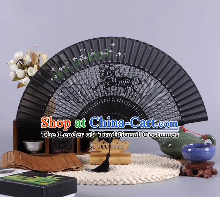 Traditional Chinese Crafts Hollow Out Horse Folding Fan China Oriental Black Bamboo Fans for Women