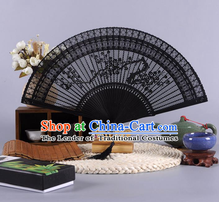 Traditional Chinese Crafts Hollow Out Wintersweet Folding Fan China Oriental Black Bamboo Fans for Women