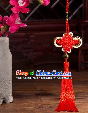Traditional Chinese Fans Accessories Pendant Red Tassel Chinese Knots Fans Pendant