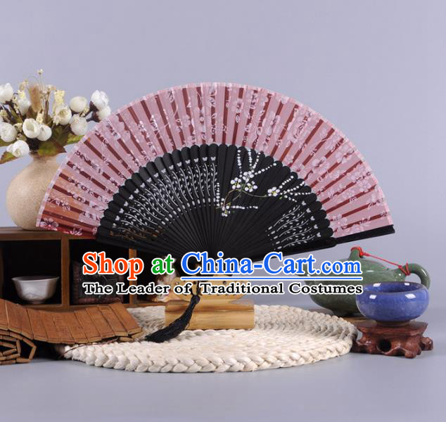 Traditional Chinese Crafts Hand Painted Plum Blossom Amaranth Silk Folding Fan China Oriental Fans for Women