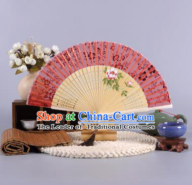 Traditional Chinese Crafts Hand Painted Peony Red Silk Folding Fan China Oriental Fans for Women
