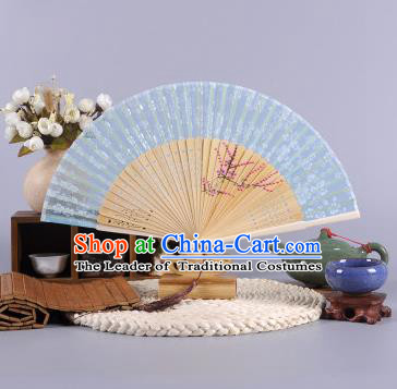 Traditional Chinese Crafts Hand Painted Wintersweet Blue Silk Folding Fan China Oriental Fans for Women