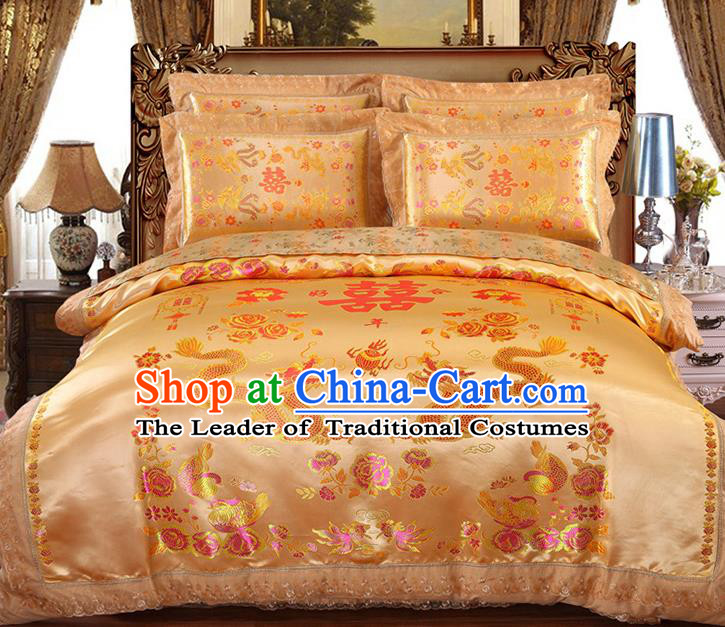 Traditional Chinese Wedding Yellow Satin Qulit Cover Embroidered Dragons Bedding Sheet Four-piece Duvet Cover Textile Complete Set