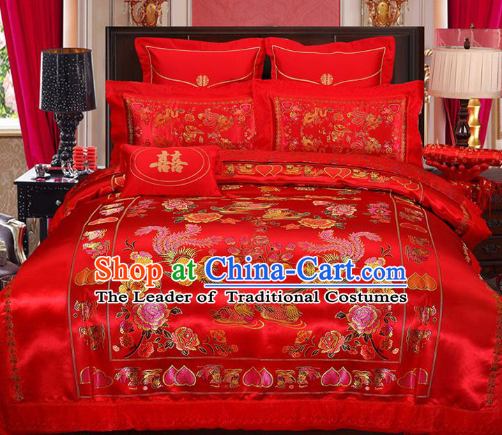 Traditional Chinese Wedding Red Satin Qulit Cover Embroidered Phoenix Peony Bedding Sheet Four-piece Duvet Cover Textile Complete Set