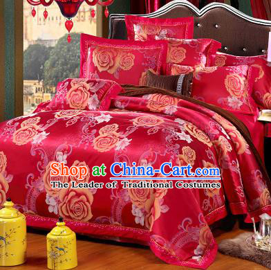 Traditional Chinese Wedding Red Satin Qulit Cover Printing Rose Bedding Sheet Four-piece Duvet Cover Textile Complete Set