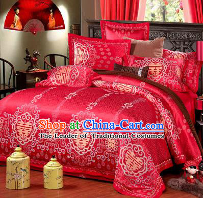 Traditional Chinese Wedding Red Satin Qulit Cover Printing Bedding Sheet Four-piece Duvet Cover Textile Complete Set