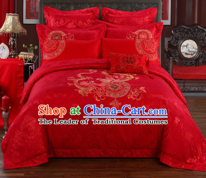 Traditional Chinese Wedding Red Satin Qulit Cover Printing Dragon Phoenix Bedding Sheet Four-piece Duvet Cover Textile Complete Set