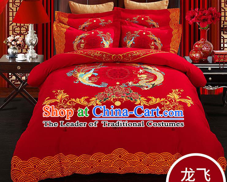 Traditional Chinese Wedding Red Qulit Cover Printing Dragon Phoenix Bedding Sheet Four-piece Duvet Cover Textile Complete Set