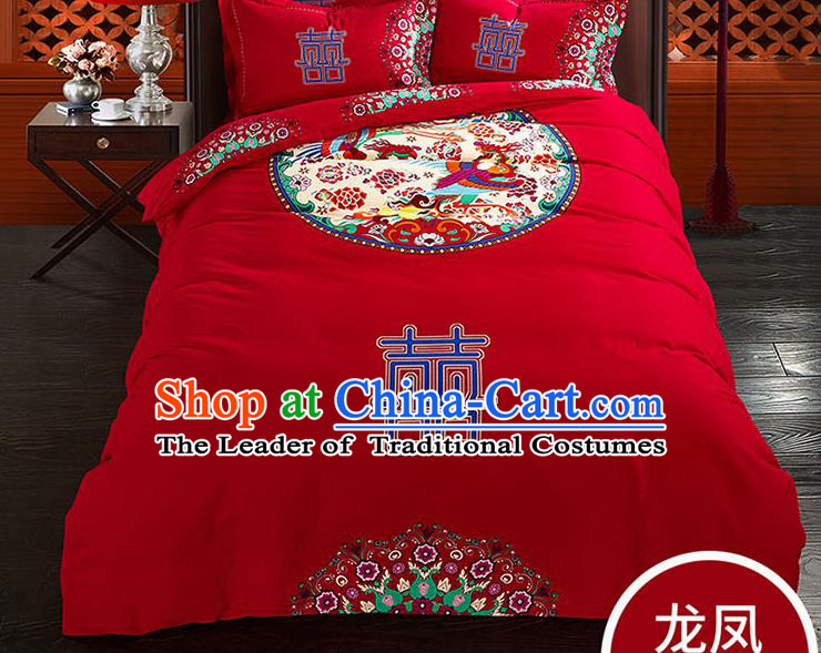 Traditional Chinese Wedding Red Qulit Cover Printing Mandarin Duck Bedding Sheet Four-piece Duvet Cover Textile Complete Set