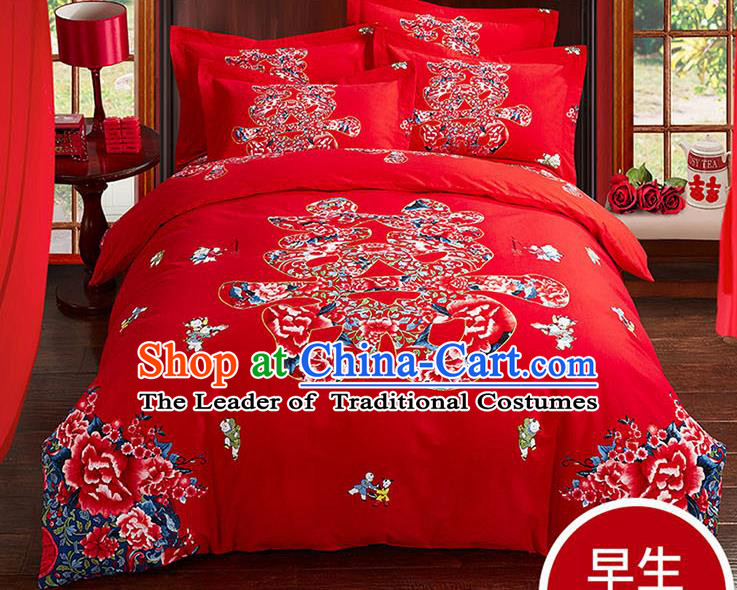 Traditional Chinese Wedding Red Qulit Cover Printing Peony Bedding Sheet Four-piece Duvet Cover Textile Complete Set