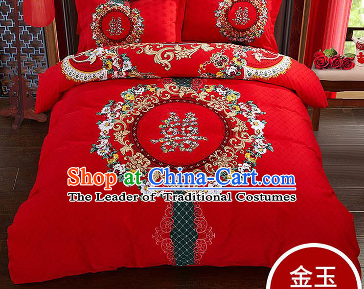 Traditional Chinese Wedding Red Qulit Cover Printing Flowers Bedding Sheet Four-piece Duvet Cover Textile Complete Set