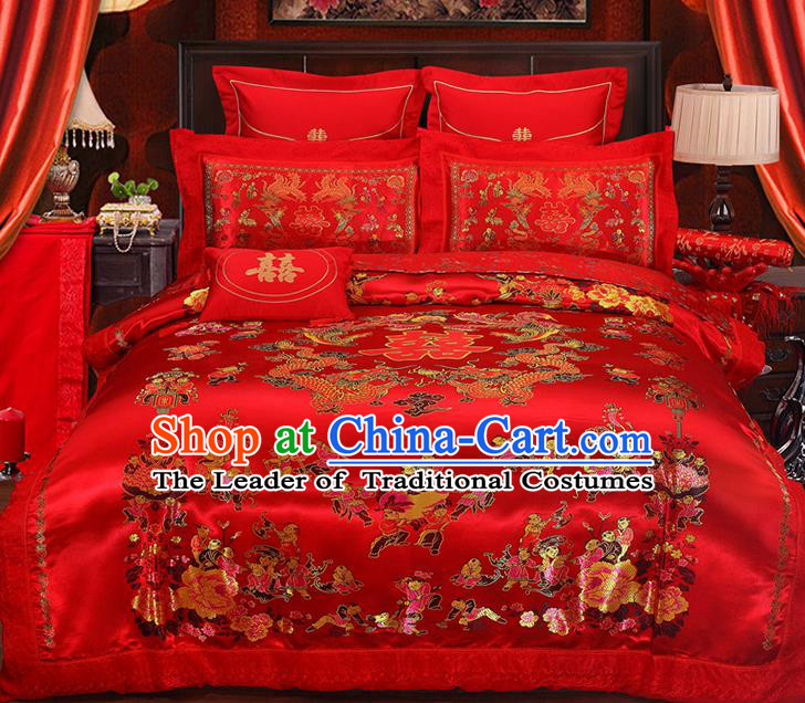 Traditional Chinese Wedding Red Satin Qulit Cover Embroidered Dragons Hundred Children Bedding Sheet Four-piece Duvet Cover Textile Complete Set