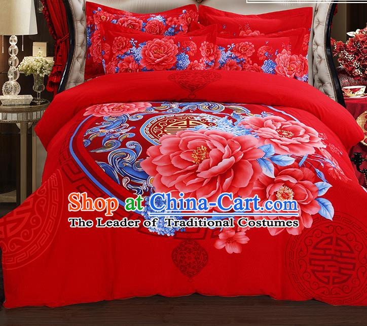 Traditional Chinese Wedding Red Printing Peony Qulit Cover Bedding Sheet Four-piece Duvet Cover Textile Complete Set