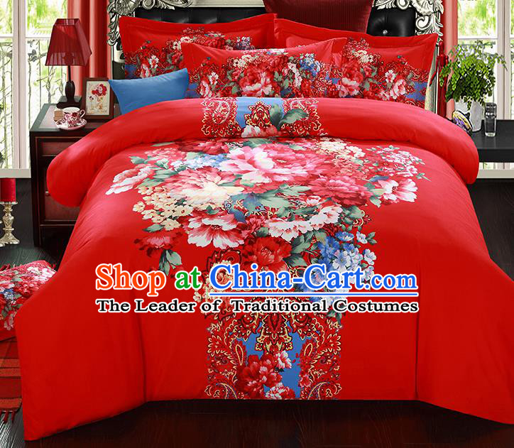 Traditional Chinese Wedding Red Printing Flowers Qulit Cover Bedding Sheet Four-piece Duvet Cover Textile Complete Set