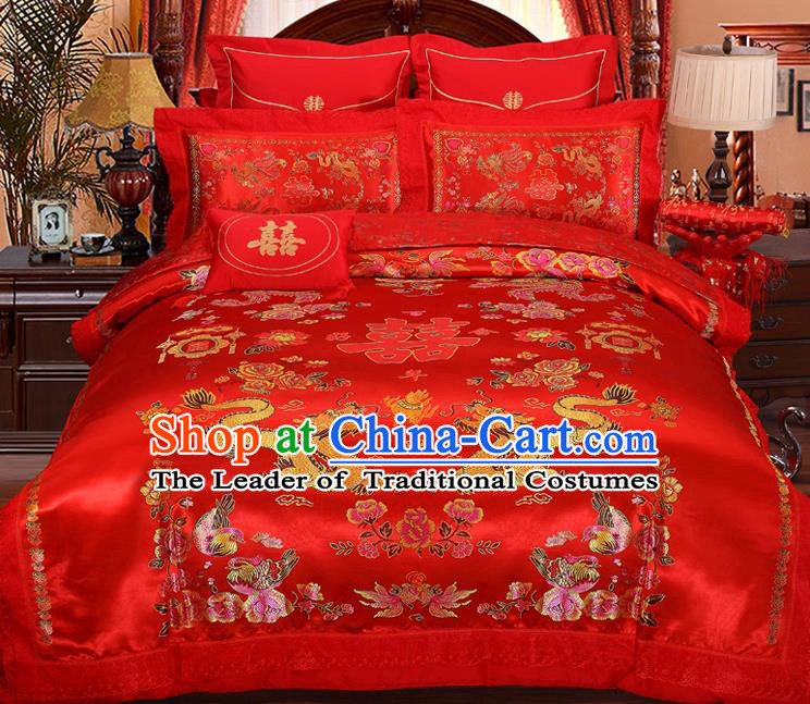 Traditional Chinese Wedding Red Satin Qulit Cover Embroidered Dragons Bedding Sheet Four-piece Duvet Cover Textile Complete Set
