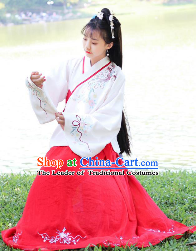 Traditional Chinese Ancient Ming Dynasty Young Lady Hanfu Costume Embroidered White Blouse and Red Skirt for Women