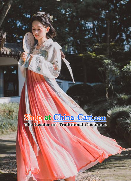 Traditional Chinese Tang Dynasty Palace Lady Costume, China Ancient Princess Hanfu Embroidered Clothing for Women
