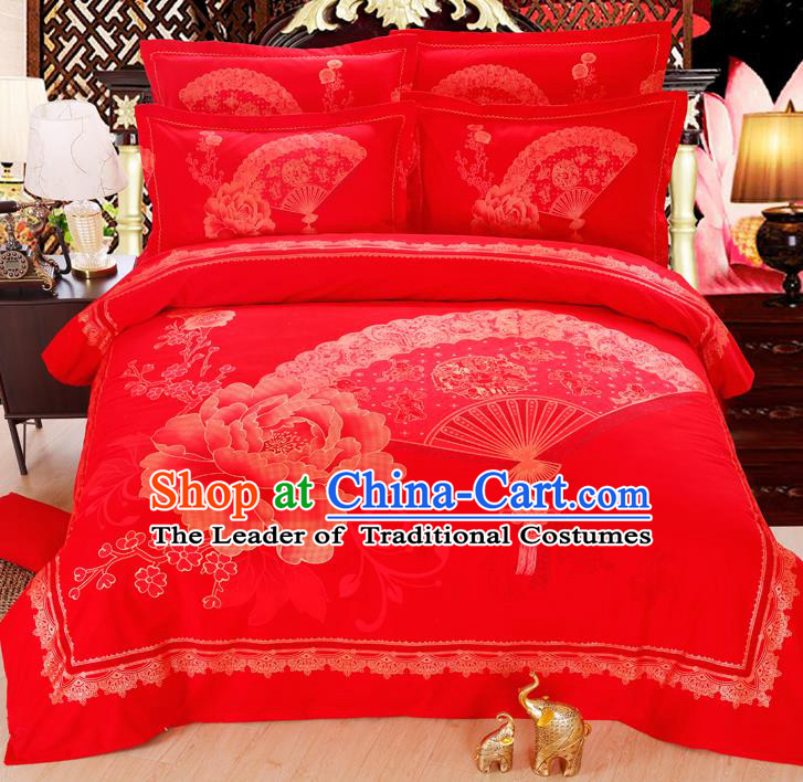 Traditional Chinese Wedding Red Printing Peony Four-piece Bedclothes Duvet Cover Textile Qulit Cover Bedding Sheet Complete Set