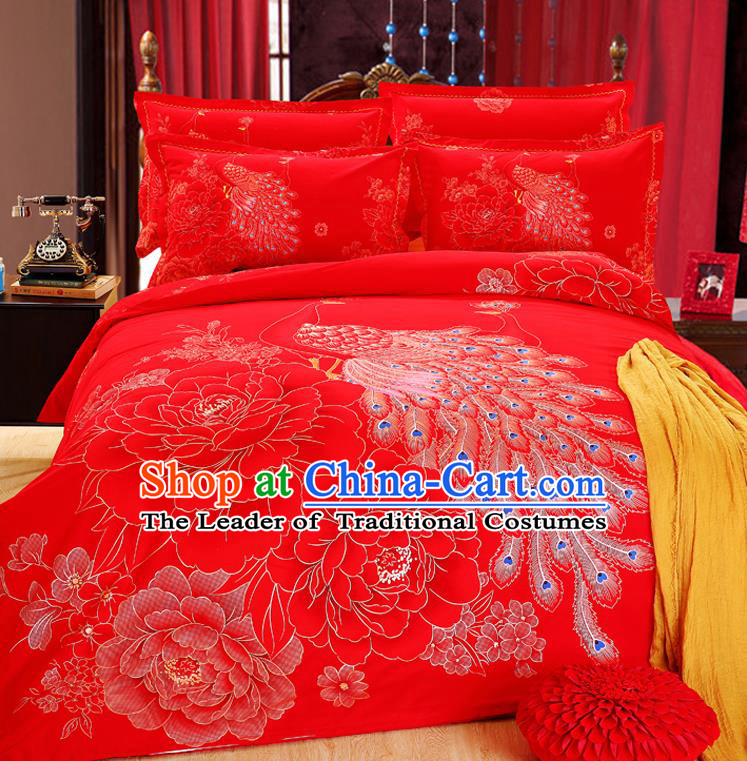 Traditional Chinese Wedding Red Printing Peacock Four-piece Bedclothes Duvet Cover Textile Qulit Cover Bedding Sheet Complete Set