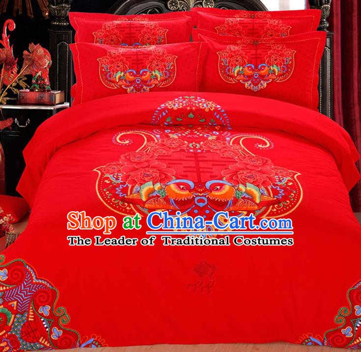 Traditional Chinese Wedding Red Printing Mandarin Duck Four-piece Bedclothes Duvet Cover Textile Qulit Cover Bedding Sheet Complete Set