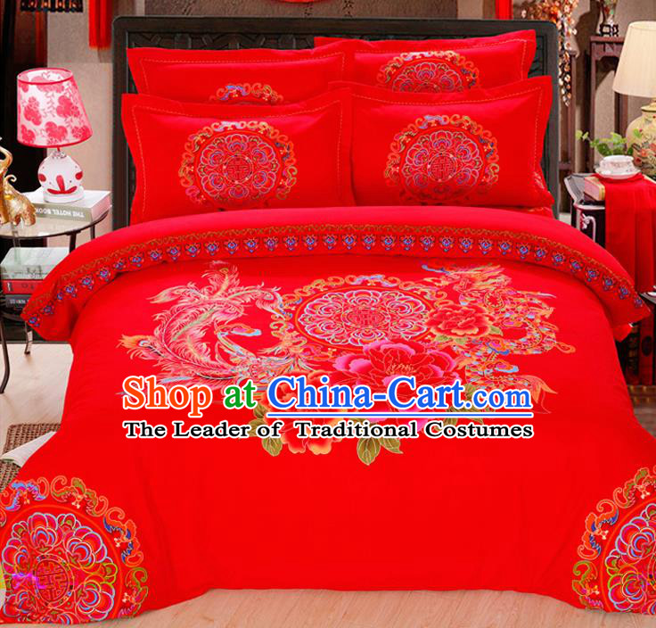 Traditional Chinese Wedding Red Printing Phoenix Peony Four-piece Bedclothes Duvet Cover Textile Qulit Cover Bedding Sheet Complete Set