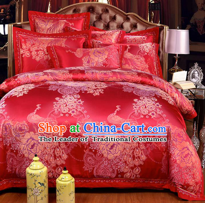 Traditional Chinese Wedding Red Satin Printing Peacock Six-piece Bedclothes Duvet Cover Textile Qulit Cover Bedding Sheet Complete Set