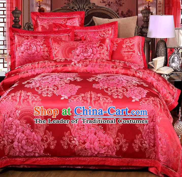 Traditional Chinese Wedding Red Satin Printing Peony Six-piece Bedclothes Duvet Cover Textile Qulit Cover Bedding Sheet Complete Set