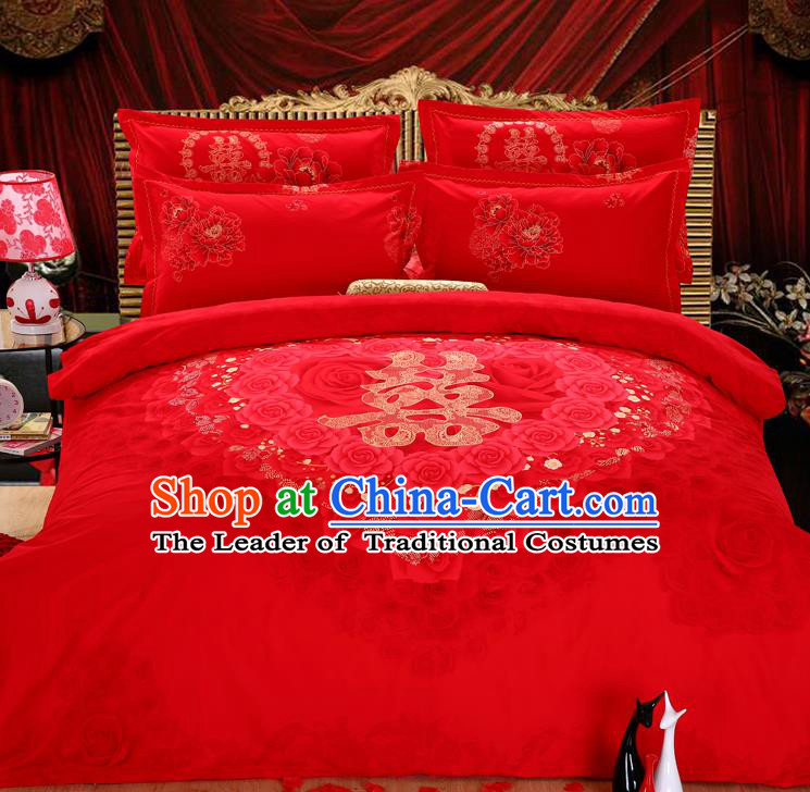 Traditional Chinese Wedding Printing Rose Red Four-piece Bedclothes Duvet Cover Textile Qulit Cover Bedding Sheet Complete Set