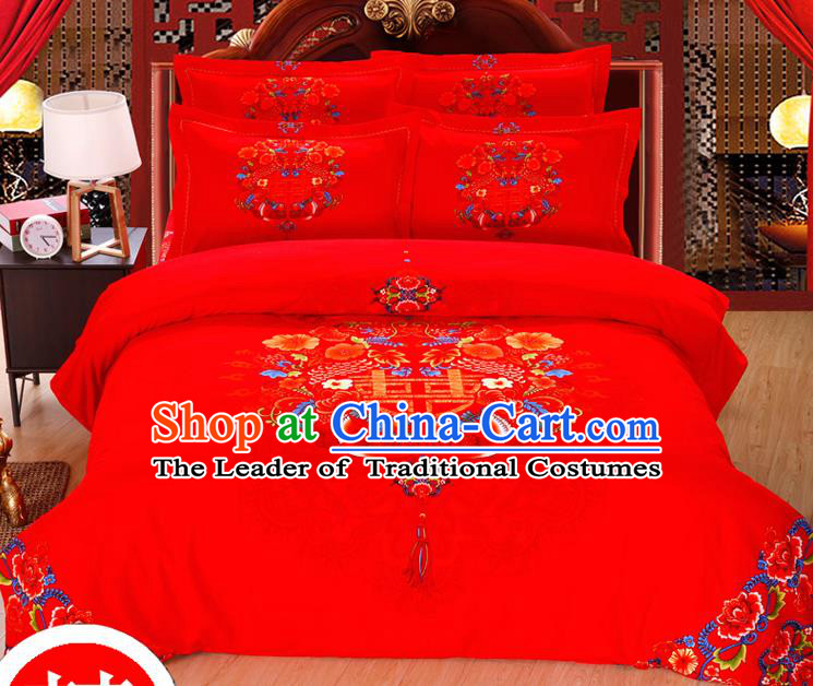 Traditional Chinese Wedding Printing Mandarin Duck Red Four-piece Bedclothes Duvet Cover Textile Qulit Cover Bedding Sheet Complete Set