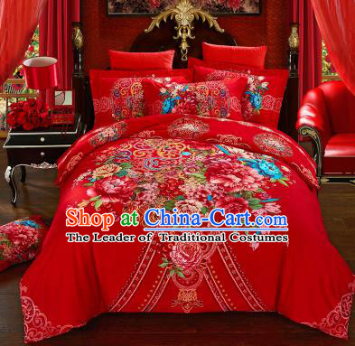 Traditional Chinese Wedding Printing Peony Flowers Red Four-piece Bedclothes Duvet Cover Textile Qulit Cover Bedding Sheet Complete Set