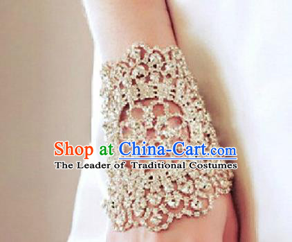 Chinese Traditional Bride Jewelry Accessories Baroque Bracelets Princess Headwear Wedding Crystal Brace Lace for Women