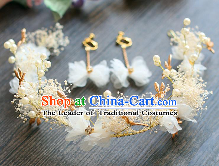 Chinese Traditional Bride Hair Jewelry Accessories Wedding Dragonfly White Flowers Hair Clasp and Earrings for Women