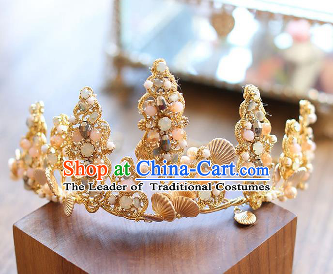Chinese Traditional Bride Hair Accessories Baroque Princess Golden Hair Clasp Wedding Royal Crown for Women