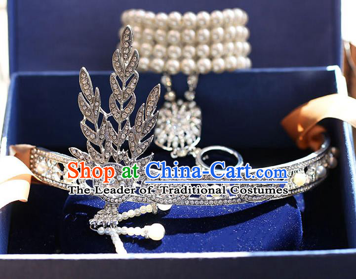 Chinese Traditional Bride Hair Accessories Baroque Princess Headwear Wedding Crystal Tassel Royal Crown for Women