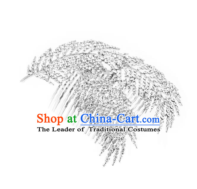 Chinese Traditional Bride Hair Jewelry Accessories Wedding Crystal Hair Comb for Women