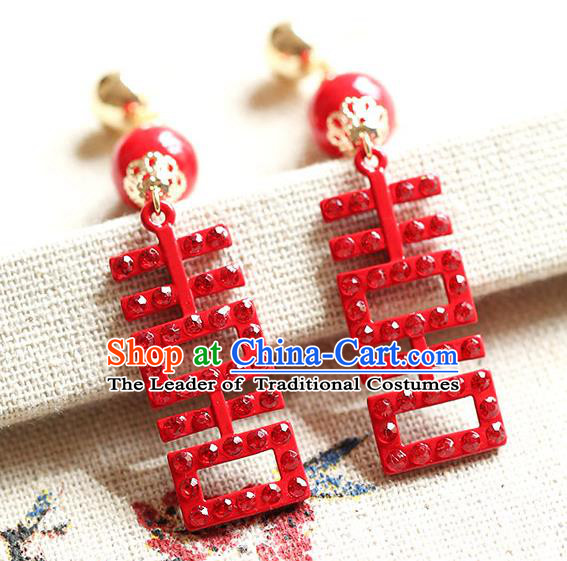 Chinese Traditional Bride Jewelry Accessories Princess Wedding Xiuhe Suit Red Xi Character Tassel Earrings for Women