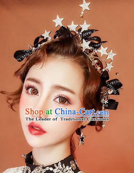 Chinese Traditional Bride Hair Jewelry Accessories Wedding Crystal Star Hair Clasp Headwear for Women