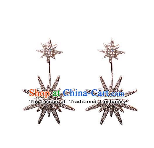 Chinese Traditional Bride Jewelry Accessories Princess Wedding Crystal Earrings for Women