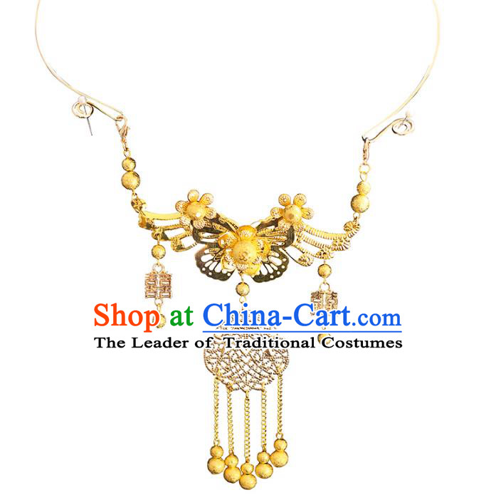 Chinese Traditional Bride Jewelry Accessories Necklace Princess Wedding Xiuhe Suit Tassel Necklet for Women