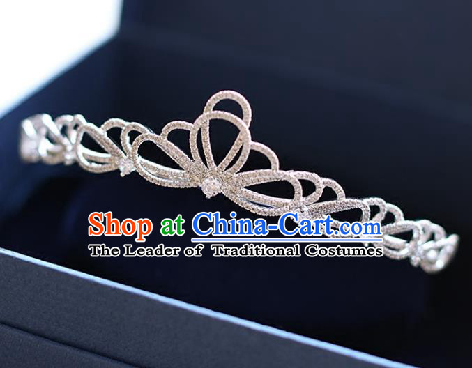 Chinese Traditional Bride Hair Accessories Baroque Princess Zircon Hair Clasp Wedding Crystal Royal Crown for Women
