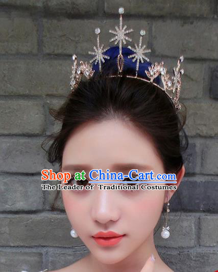 Chinese Traditional Bride Hair Accessories Baroque Princess Headwear Wedding Crystal Snowflake Royal Crown for Women